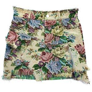 Zara Woman Distressed Floral Mini Skirt